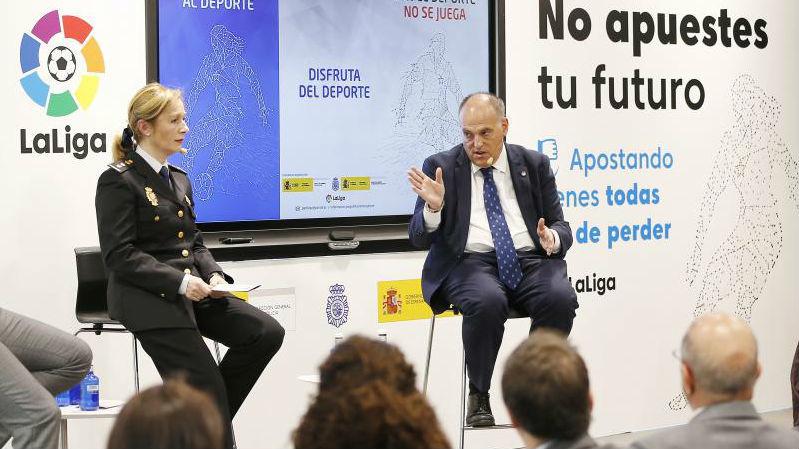 El presidente de LaLiga, Javier Tebas, en un acto reciente con la...