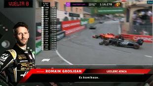 El toque de Grosjean con Leclerc.