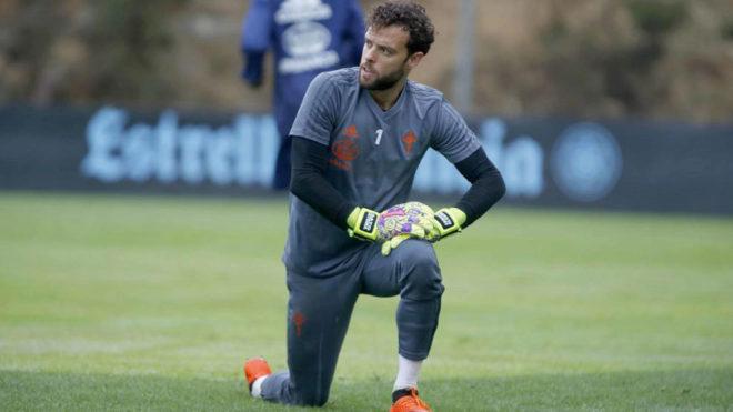 Sergio, durante un entrenamiento con el Celta