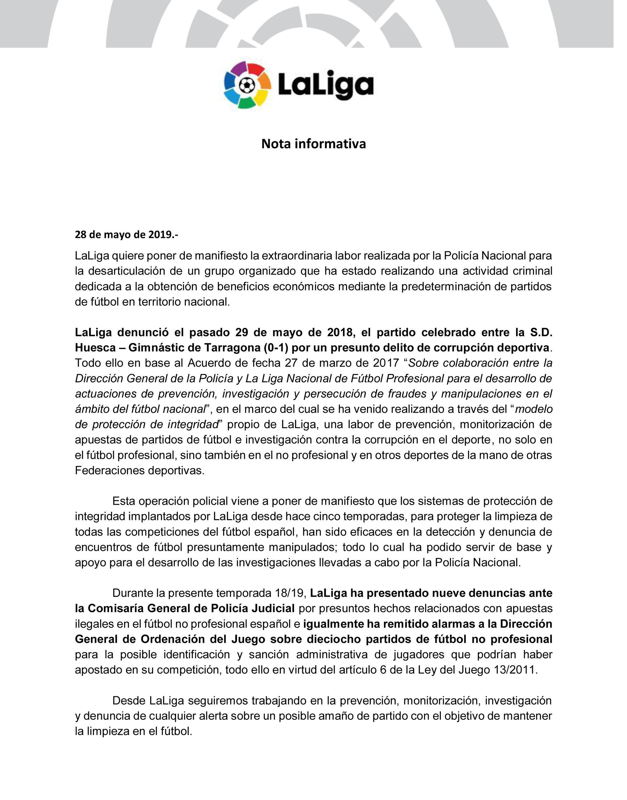Amaño de partidos en la liga española. Detenidos varios futbolistas de primera, segunda y el presidente del Huesca  15590447749384