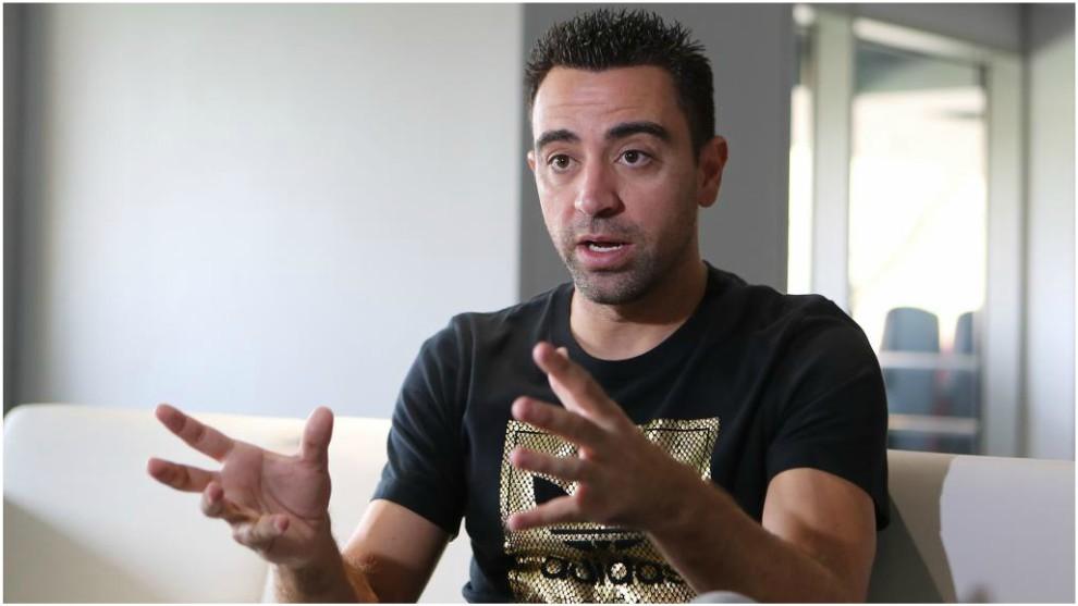 Xavi Hernández, durante una entrevista en Doha.