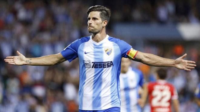 Adrián, jugador del Málaga, durante un partido ante el Zaragoza de...