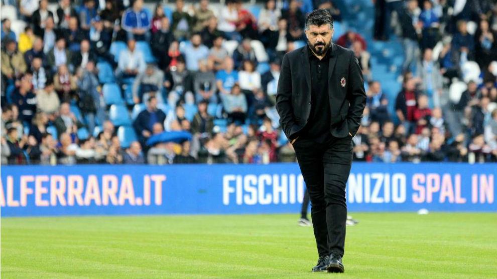 Gattuso, en un partido con el Milan.