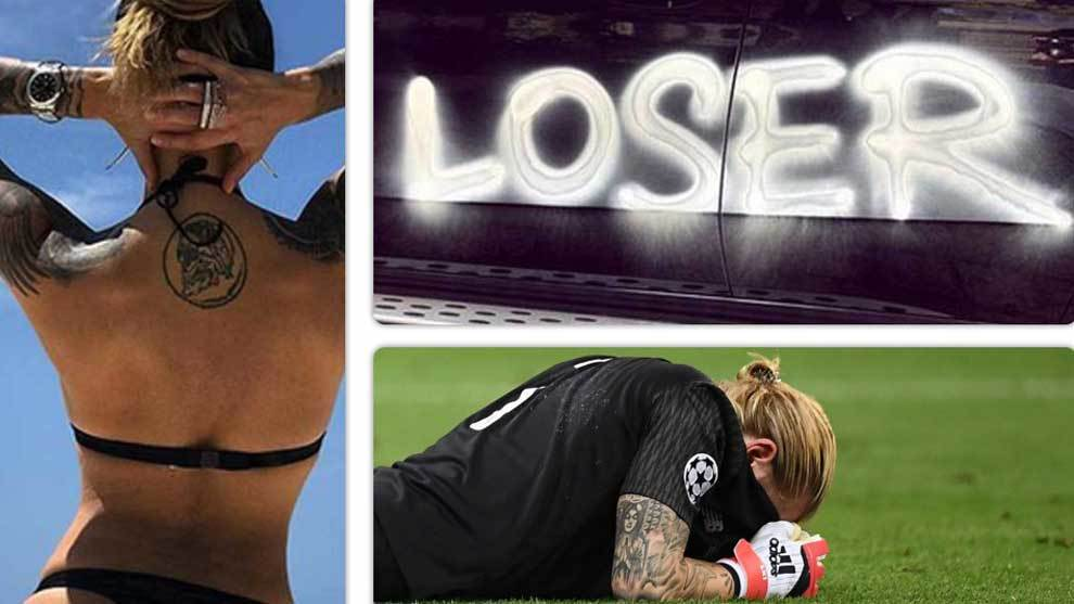 Sophia Thomalla, Karius girlfriend has loser spray painted onto her...