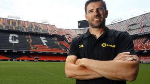 David Albelda, en Mestalla.