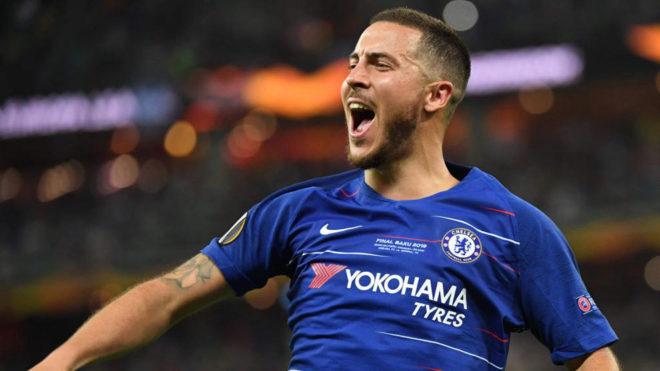 Hazard celebra uno de sus goles al Chelsea.