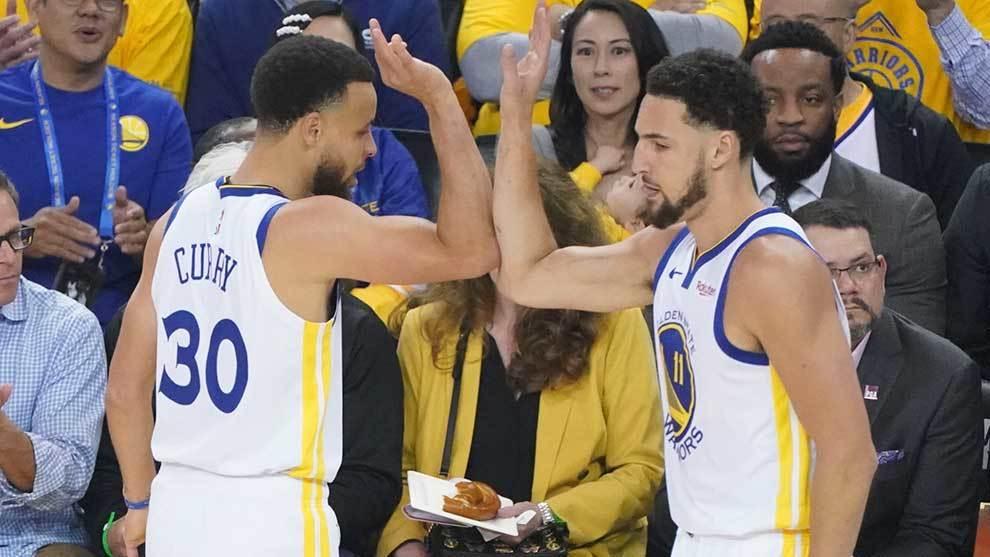 Klay Thompson y Stephen Curry durante la serie ante Portland.