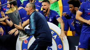 Sarri habla tras el título en la Europa League.
