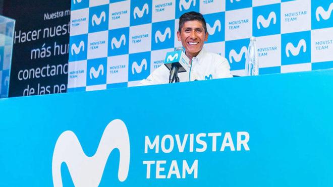 Nairo Quintana, durante la rueda de prensa en la sede de Movistar en...