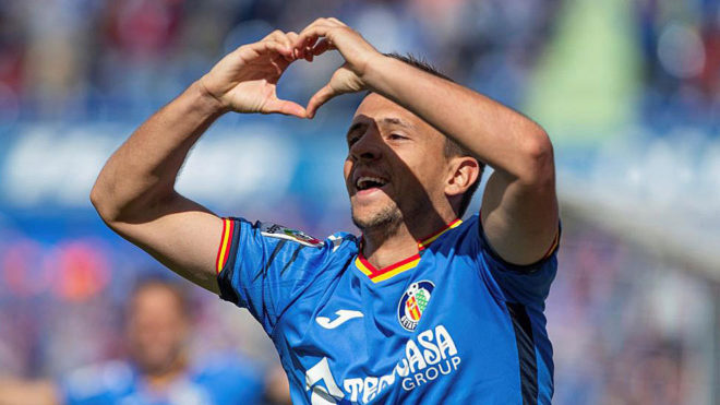 Maksimovic celebra un gol con el Getafe.