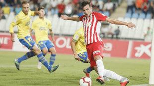 Álvaro Giménez, durante el choque ante Las Palmas.
