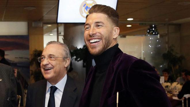 Florentino Pérez y Sergio Ramos, durante un acto.
