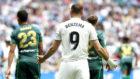 Benzema, en el último partido de Liga contra el Betis.