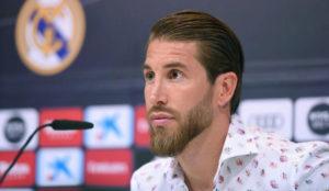 Sergio Ramos, durante la rueda de prensa