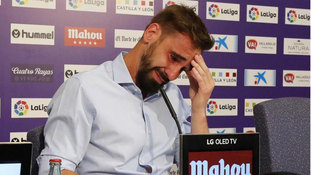 Borja Fernández, en la rueda de prensa de su despedida como jugador...