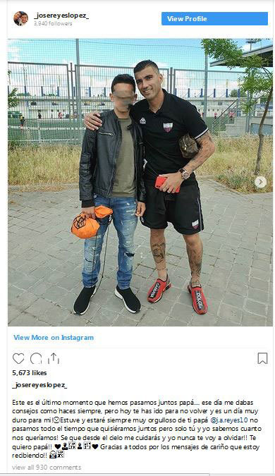 LaLiga: Jose Antonio Reyes' son pens emotional goodbye to his father