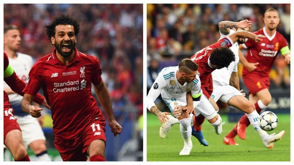Salah celebra su gol en Madrid y Salah cae ante Ramos en Kiev.