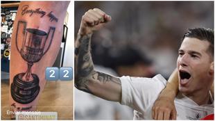 Detalle del tatuaje y Mina en Sevilla, tras ganar la Copa del Rey.