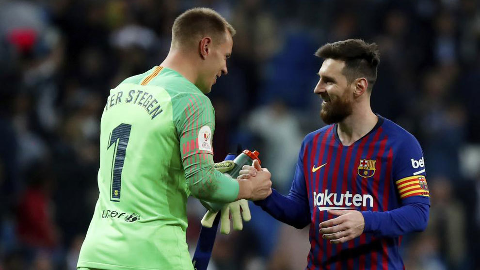 Ter Stegen y Messi.