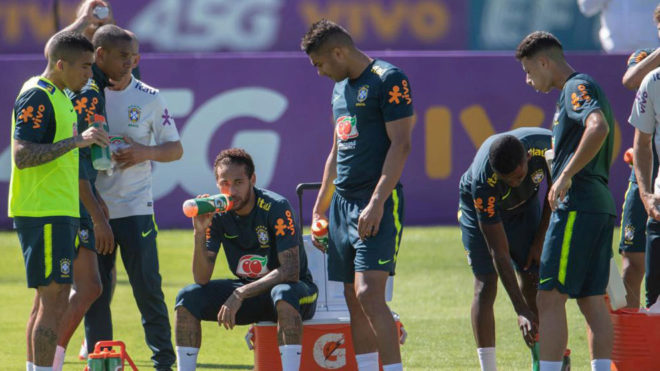 Neymar during training with Brazil.