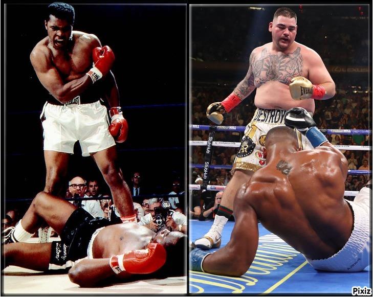 Muhammad Ali tras su KO a Sonny Liston en 1965 y Andy Ruiz tras su KO...