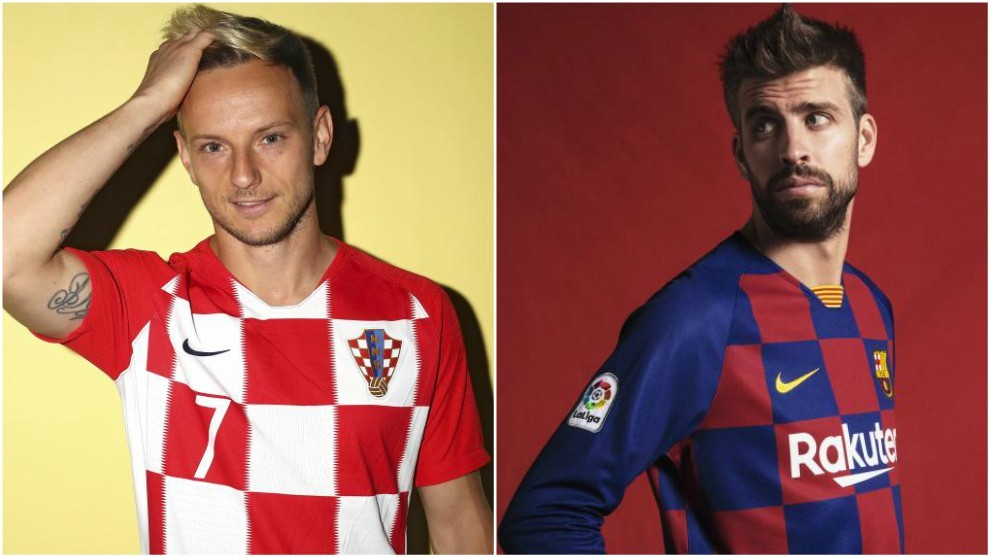 Ivan Rakitic in Croatia's shirt, and Gerard Pique in the new Barcelona...