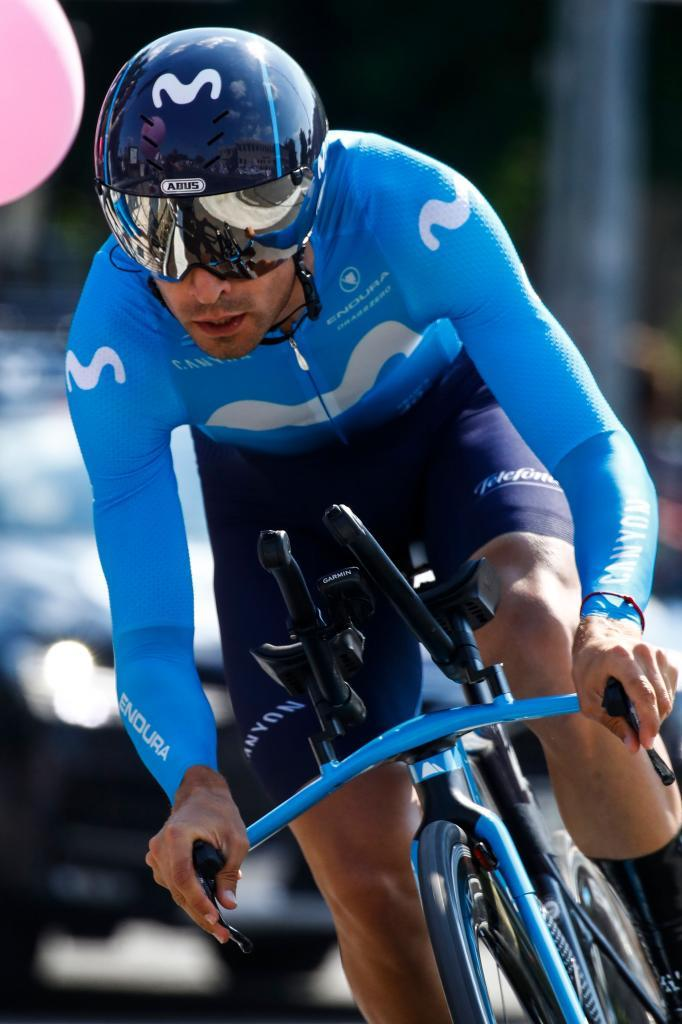 Team Movistar rider Spains Mikel <HIT>Landa</HIT> rides during stage twenty-one, the final stage of the 102nd Giro dItalia - Tour of Italy - cycle race, a 17km individual time-trial in Verona on June 2, 2019. (Photo by Luk BENIES / AFP)