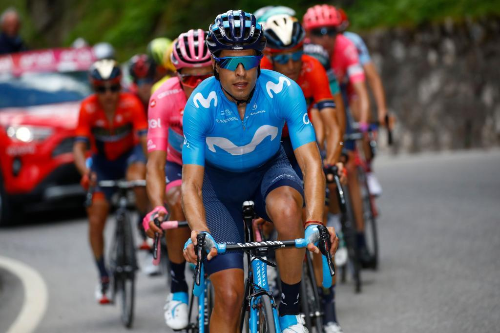 Team Movistar rider Spains Mikel <HIT>Landa</HIT> rides during stage nineteen of the 102nd Giro dItalia - Tour of Italy - cycle race, 151kms from Treviso to San Martino di Castrozza on May 31, 2019. (Photo by Luk BENIES / AFP)