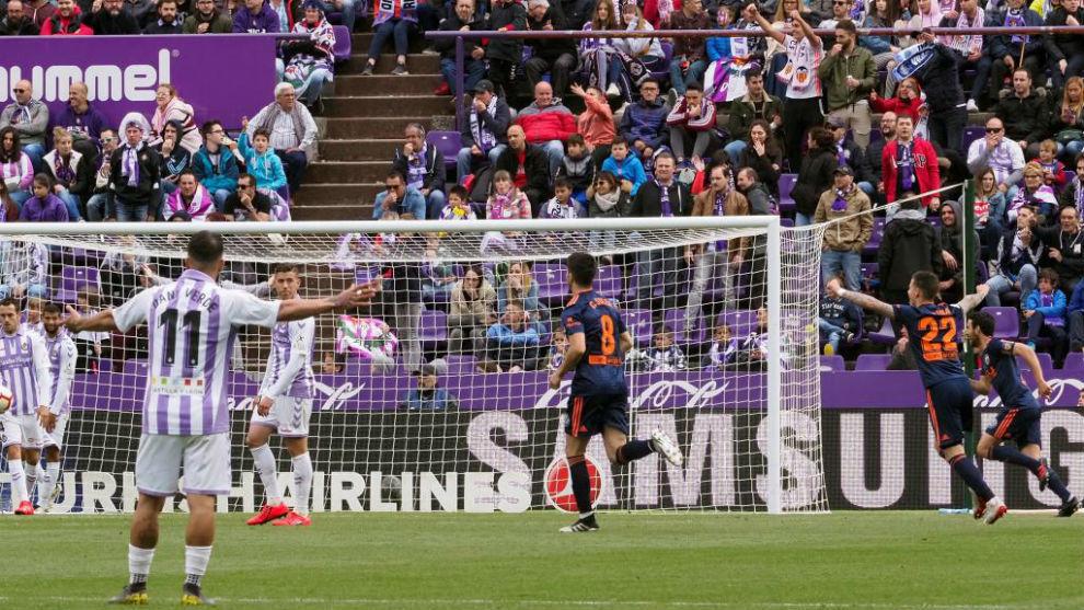 Gol del Valencia ante el Valladolid.
