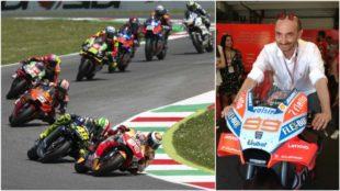 Lorenzo, con Rossi detrás; y al lado Domenicali.