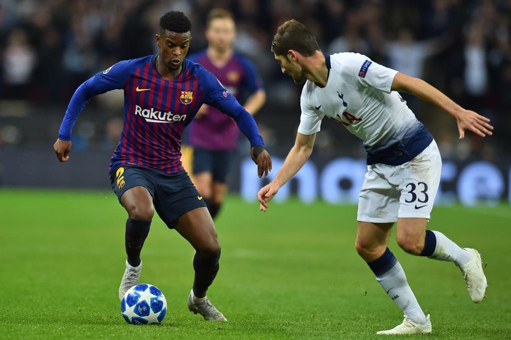 Nelson Semedo on the ball against Tottenham Hotspur in the Champions...