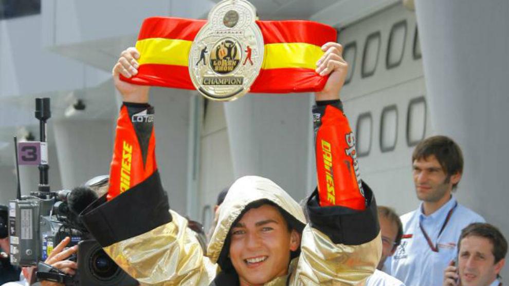 Lorenzo, en Malasia 2007, tras ganar su segundo título de 250cc.
