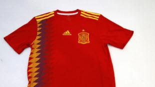 La actual camiseta de la selección española.