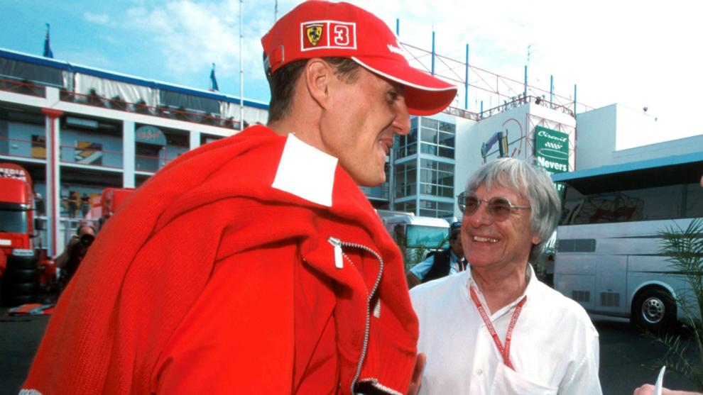 Michael Schumacher and Bernie Ecclestone.