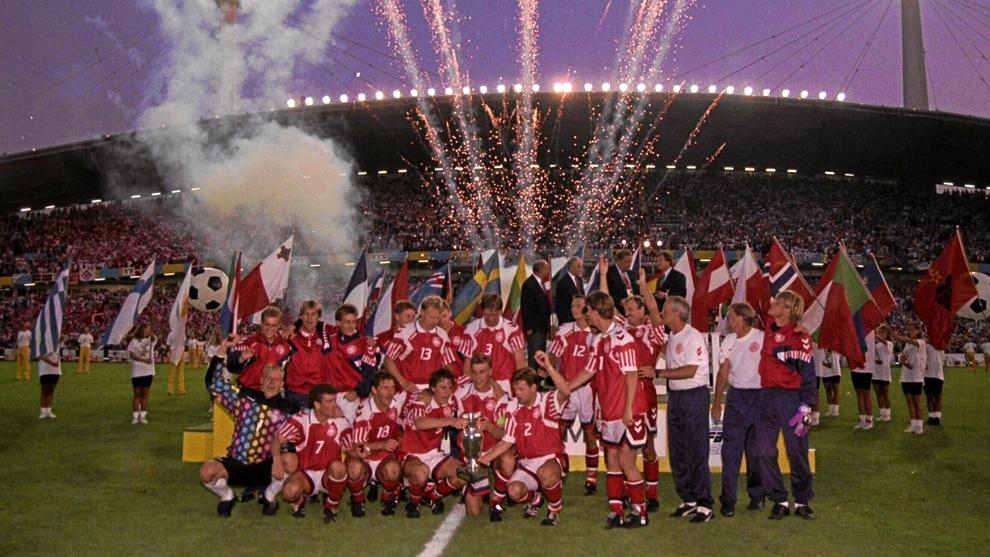 La celebración danesa de la Eurocopa de 1992.