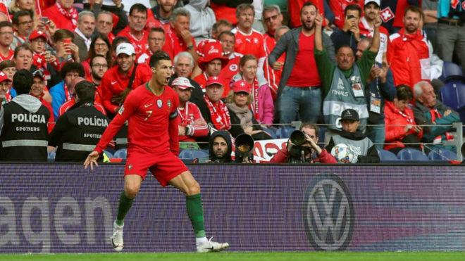 Cristiano Ronaldo celebrates one of his goals against Switzerland.