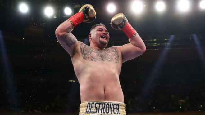Andy Ruiz tras ganar a Joshua.