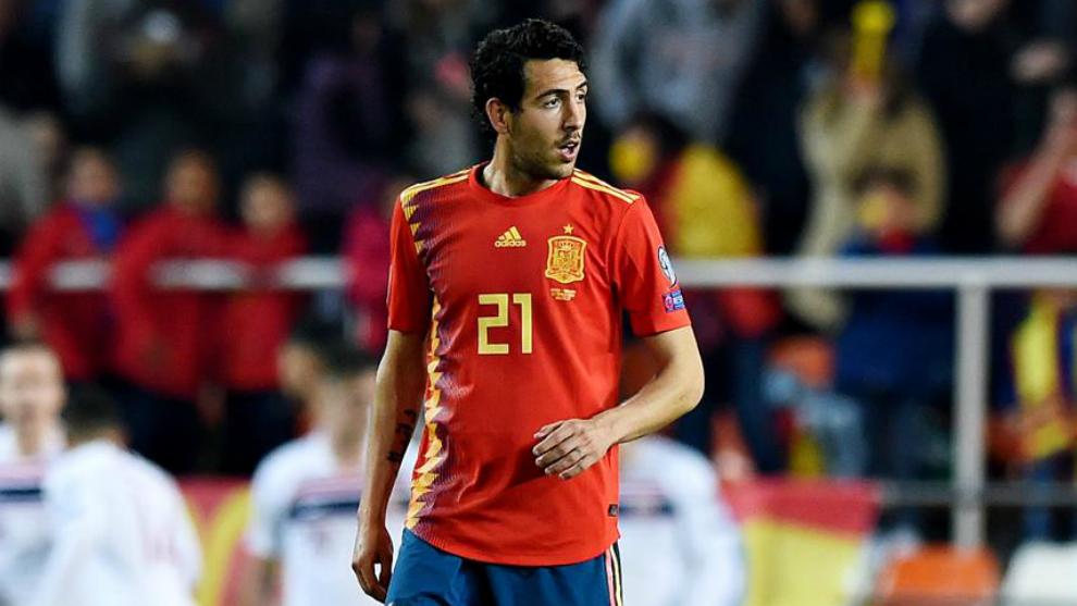 Dani Parejo in action for Spain.
