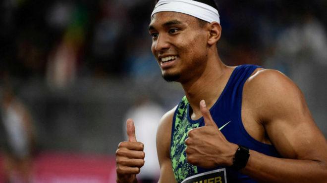 Michael Norman celebra su victoria en los 200 metros de la Golden...