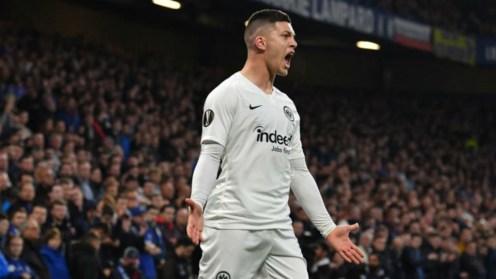 Luka Jovic celebrates his goal against Chelsea in the Europa League...