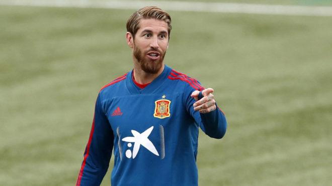 Sergio Ramos, durante un entrenamiento de esta semana.