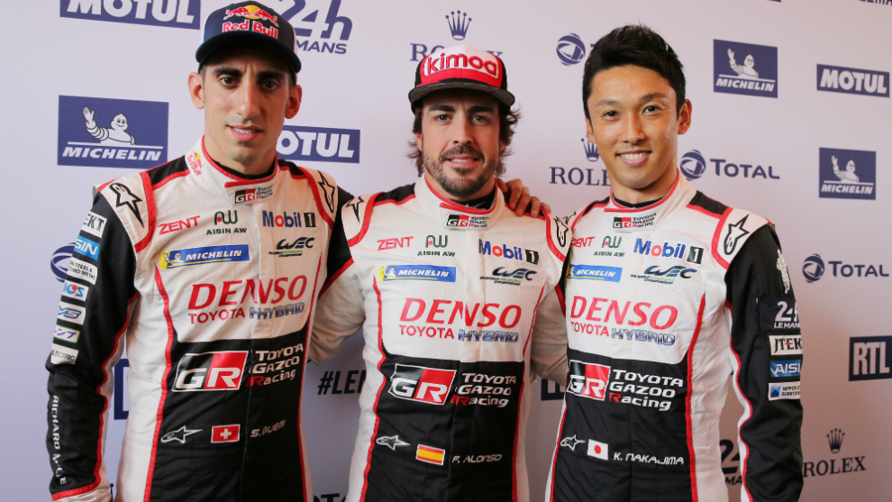 Alonso with Buemi and Nakajima.