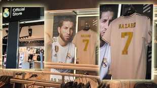 La camiseta de Hazard, en la tienda oficial del Real Madrid en el...