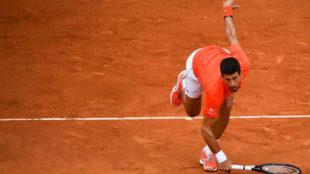 Djokovic resbala durante el partido