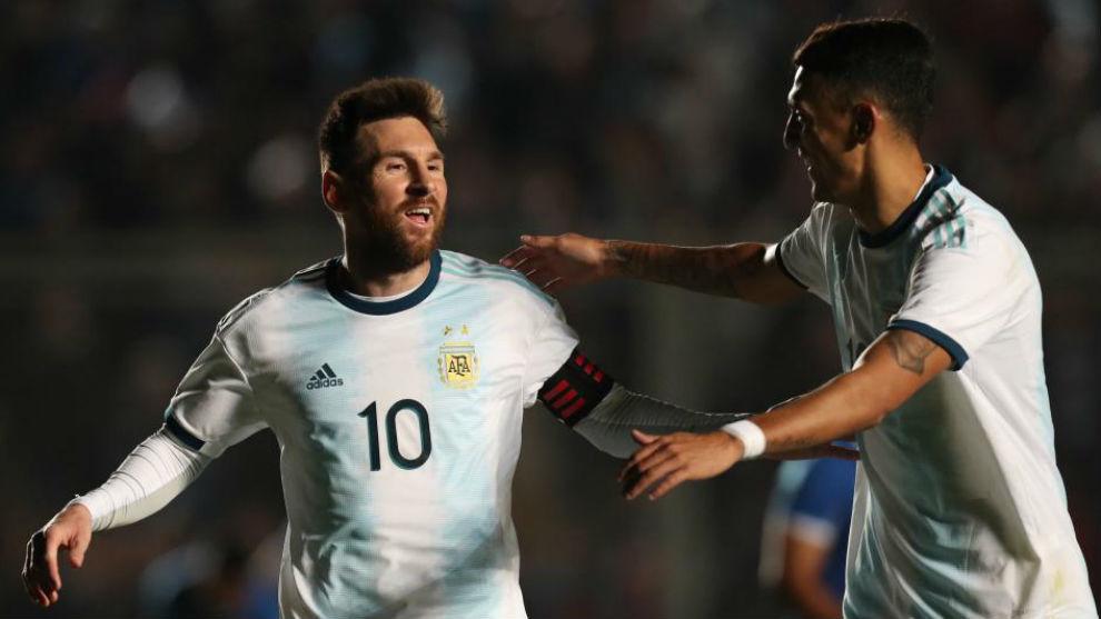 Leo Messi tras marcar uno de sus dos goles a Nicaragua