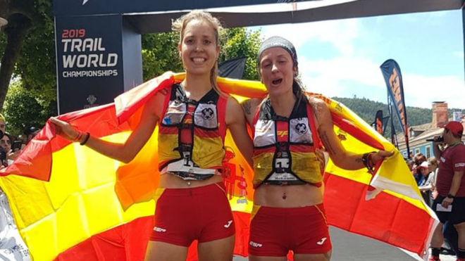 Sheyla Avilés y Azara García, en meta.