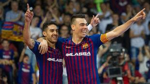 Adolfo y Sergio Lozano celebran uno de los goles del Barça Lassa.