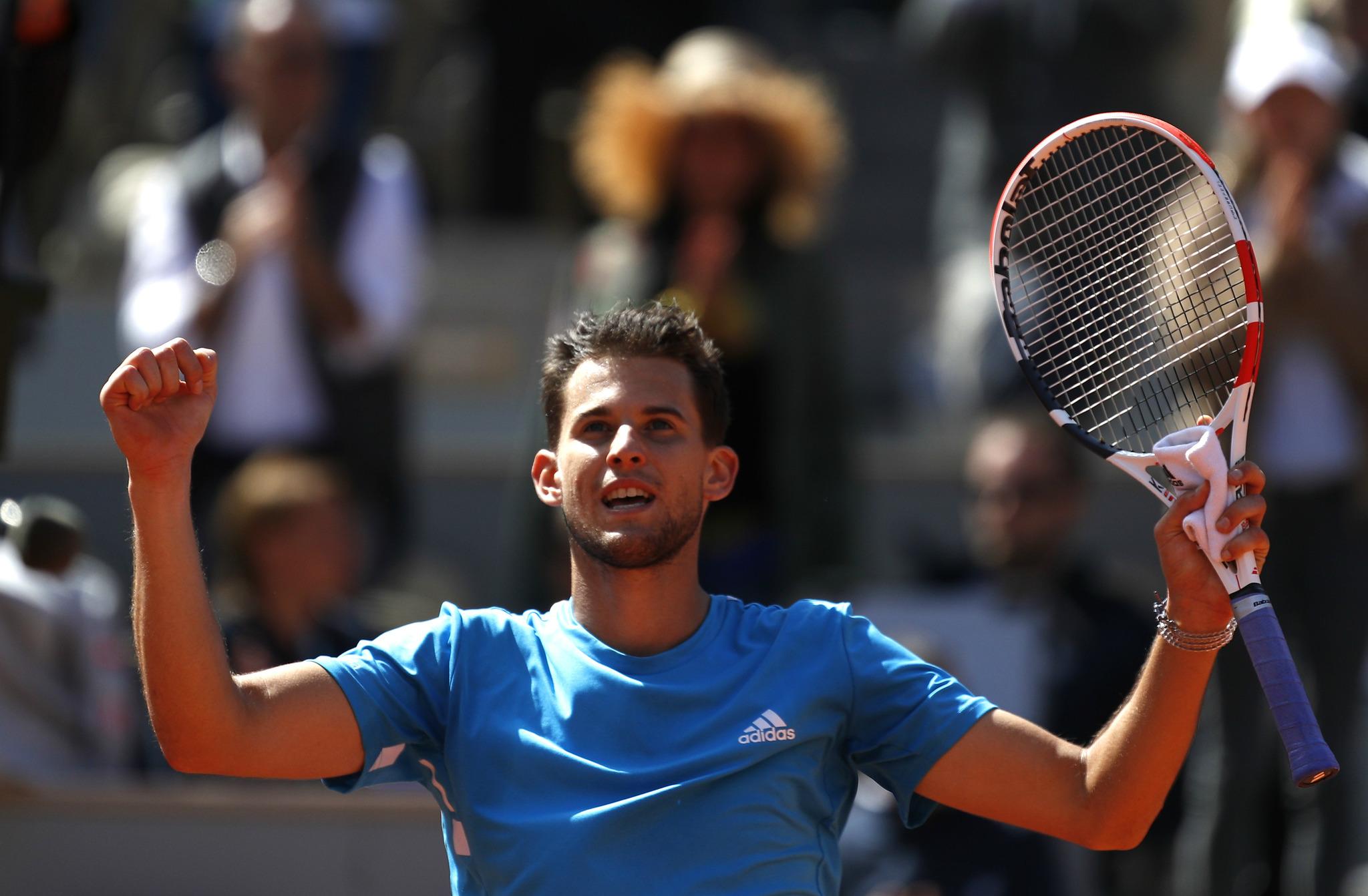 Thiem celebra la victoria ante Djokovic