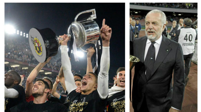 The Valencia players lifting the Copa del Rey, and Napoli president Aurelio De Laurentiis.