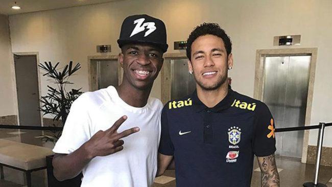 Neymar y Vinícius, en una concentración de Brasil.